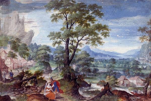 An Extensive Wooded Valley With Judah And Tamar In The Foreground